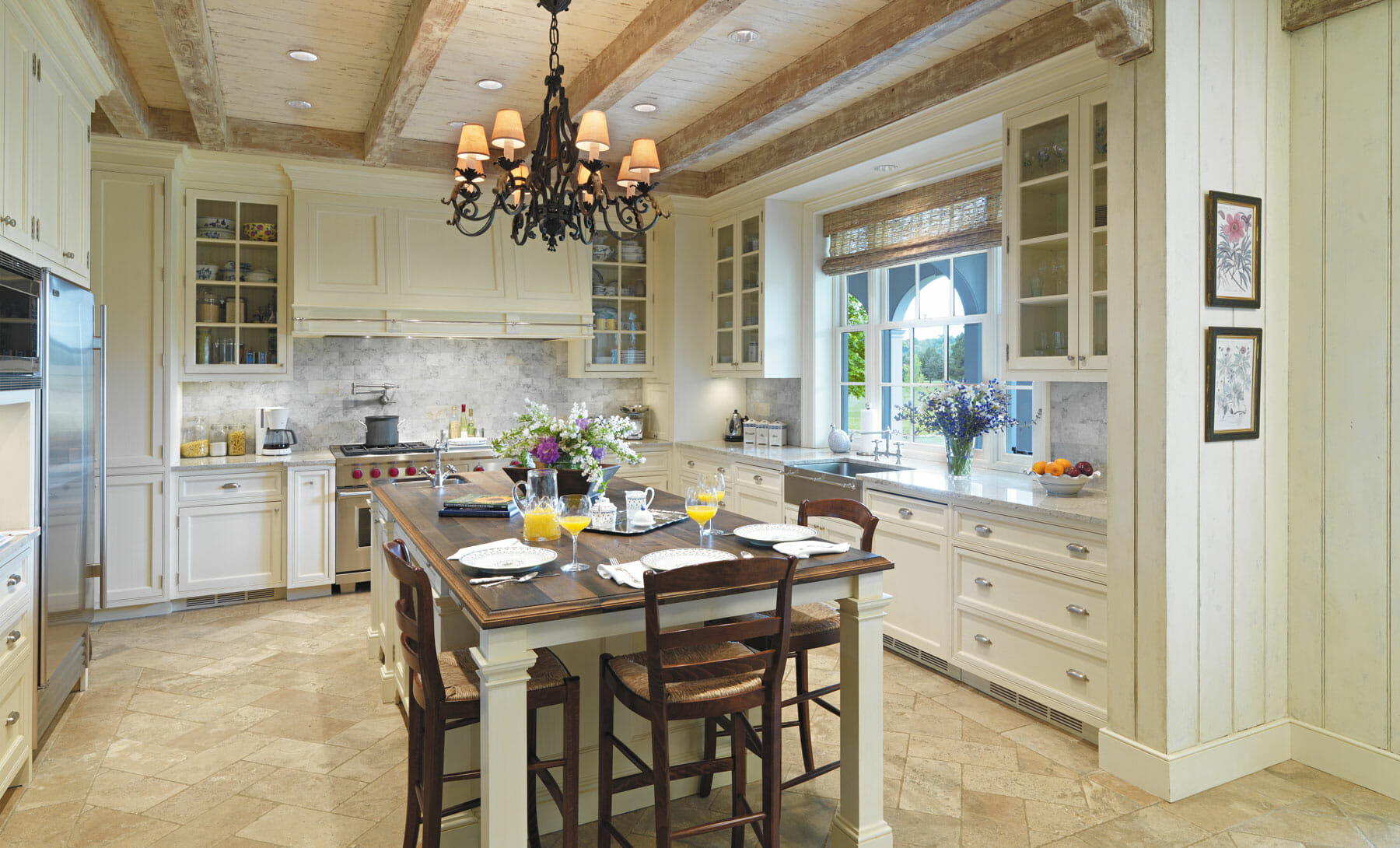 Charlottesville kitchen remodel with exposed wooden beams and open kitchen layout, built by GME Builders.
