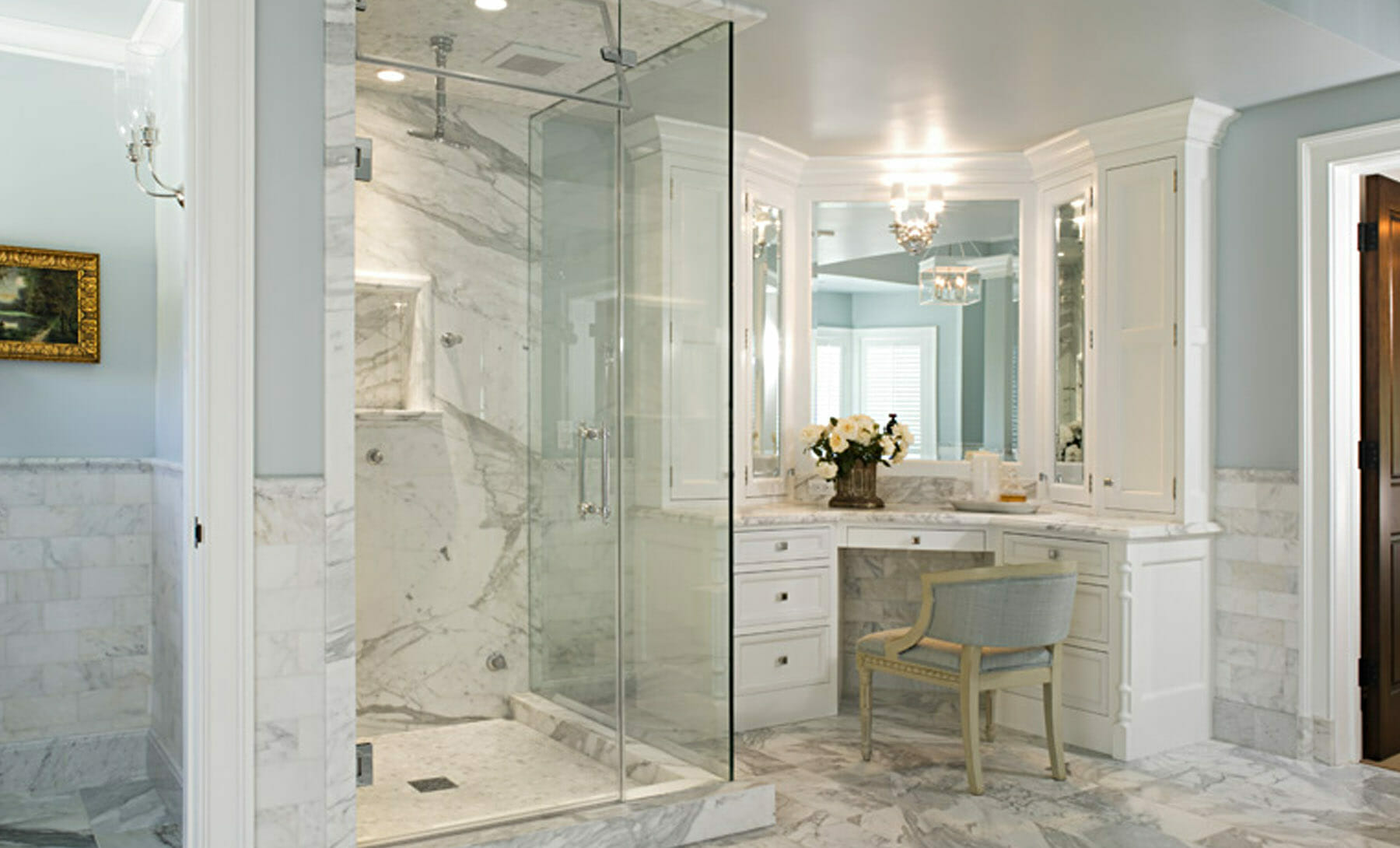 historic-style bathroom in Charlottesville, with classic-style molding and marbled floors and shower