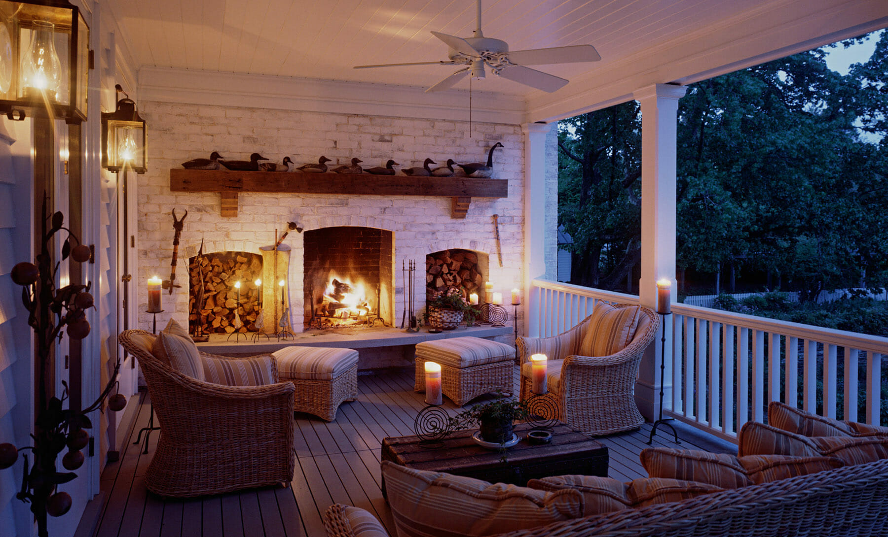 Deck with fireplace in Charlottesville, Virginia, built by GME Builders
